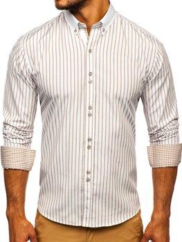Béžová pánská proužkovaná košile s dlouhým rukávem Bolf 9713