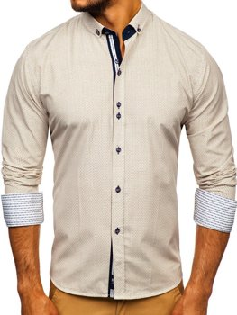 Béžová pánská vzorovaná košile s dlouhým rukávem Bolf 9710