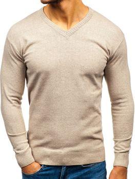 Béžový pánský svetr s výstřihem do V Bolf 6002 e4e544e5f4