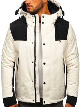 Biała kurtka męska zimowa Denley J1905