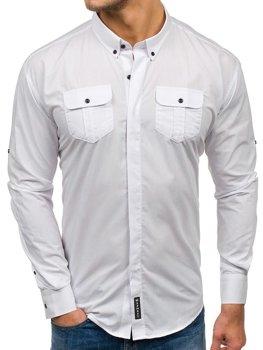 Bílá pánská elegantní košile s dlouhým rukávem Bolf 0780