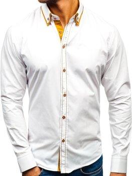 Bílá pánská elegantní košile s dlouhým rukávem Bolf 3703