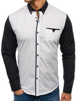 Bílá pánská elegantní košile s dlouhým rukávem Bolf 5726