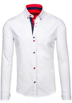 Bílá pánská elegantní košile s dlouhým rukávem Bolf 5870