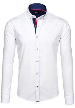Bílá pánská elegantní košile s dlouhým rukávem Bolf 6937