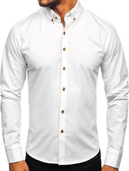 Bílá pánská elegantní košile s dlouhým rukávem Bolf 6964