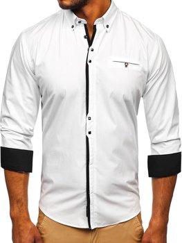 Bílá pánská elegantní košile s dlouhým rukávem Bolf 7720