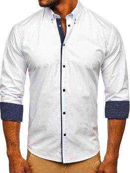 Bílá pánská elegantní košile s dlouhým rukávem Bolf 7724