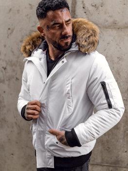 Bílá pánská zimní bunda Bolf 2019