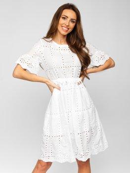 Bílé dámské bavlněné šaty boho Bolf 2185