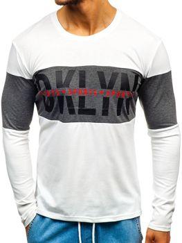Bílé pánské tričko s dlouhým rukávem a potiskem Bolf XXS1090