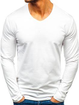 Bílé pánské tričko s dlouhým rukávem bez potisku Bolf 172008
