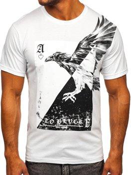 Bílé pánské tričko s potiskem Bolf 142171