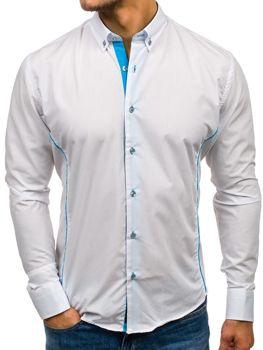 Bílo-blankytná pánská elegantní košile s dlouhým rukávem Bolf 5722-1