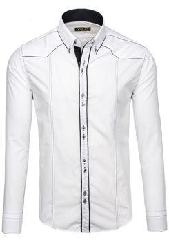Bílo-černá pánská elegantní košile s dlouhým rukávem Bolf 4777