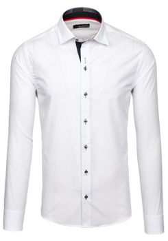 Bílo-černá pánská elegantní košile s dlouhým rukávem Bolf 6922