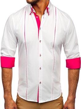 7423e9289c0 Bílo-růžová pánská elegantní košile s dlouhým rukávem Bolf 4744