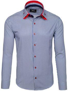 Bílo-tmavě modrá pánská elegantní košile s dlouhým rukávem Bolf 6955