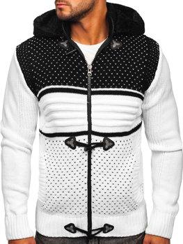 Bílý pánský silný svetr na zip s kapucí bunda Bolf 2047