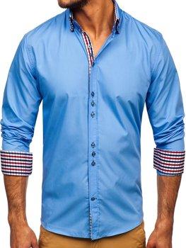 Blankytná pánská elegantní košile s dlouhým rukávem Bolf 0926