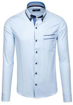Blankytná pánská elegantní košile s dlouhým rukávem Bolf 6938