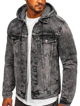 Černá pánská džínová bunda s kapucí Bolf RB9860-1