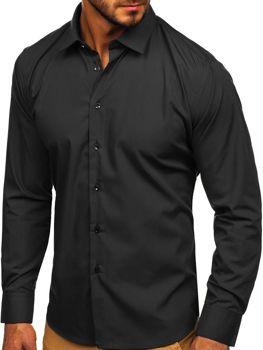 Černá pánská elegantní košile s dlouhým rukávem Bolf 0001
