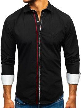 Černá pánská elegantní košile s dlouhým rukávem Bolf 1769-A