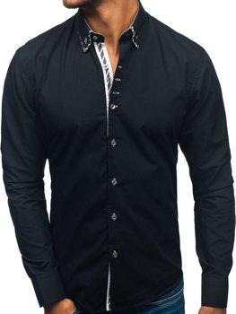Černá pánská elegantní košile s dlouhým rukávem Bolf 3762