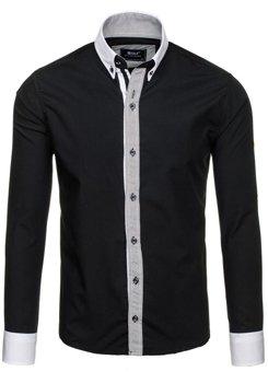 Černá pánská elegantní košile s dlouhým rukávem Bolf 6946