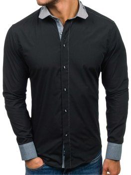 Černá pánská elegantní košile s dlouhým rukávem Bolf 6962