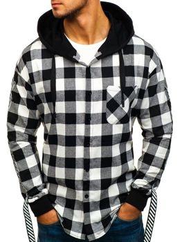 Černá pánská flanelová košile/mikina 2v1 Bolf 7459