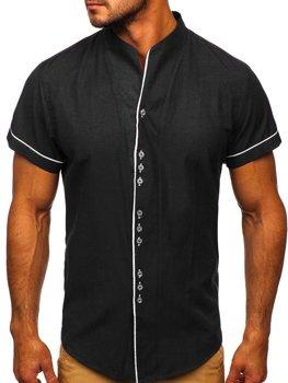 Černá pánská košile s krátkým rukávem Bolf 5518