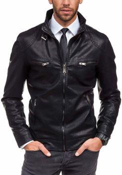 Černá pánská kožená bunda z ekokůže Bolf 288