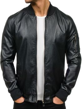 Černá pánská kožená bunda z ekokůže Bolf K320