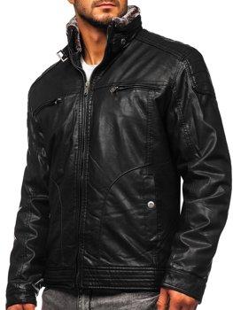 Černá pánská koženková bunda Bolf EX839