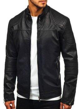 Černá pánská koženková bunda Bolf EX911