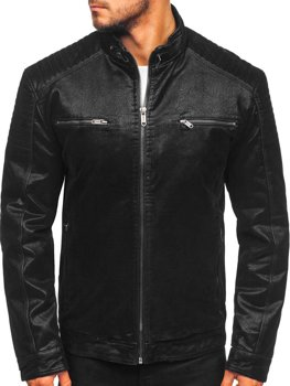 Černá pánská koženková manšestrová bunda Bolf EX927
