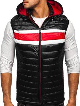 Černá pánská prošívaná vesta s kapucí Bolf 6700