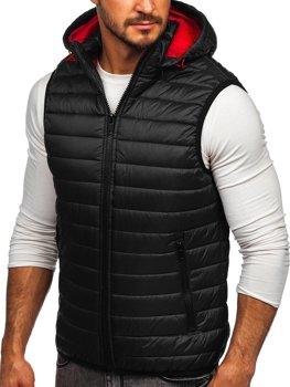 Černá pánská prošívaná vesta s kapucí Bolf 6701