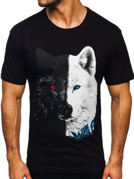 Černé pánské bavlněné tričko s potiskem Bolf 14800