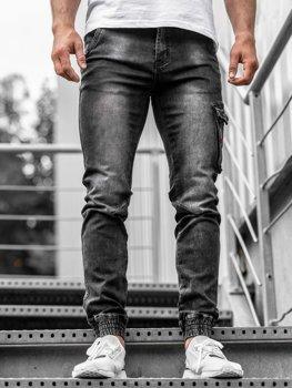 Černé pánské džínové jogger kalhoty Bolf KA738
