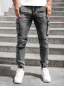 Černé pánské džínové jogger kapsáče Bolf HY892