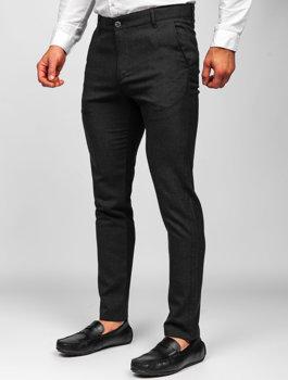 Černé pánské textilní chino kalhoty Bolf 0016