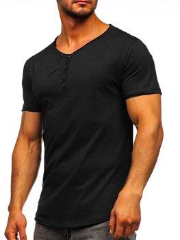 Černé pánské tričko bez potisku s výstřihem do V Bolf 4049