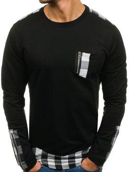 Černé pánské tričko s dlouhým rukávem Bolf 0758