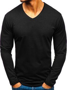 1f0228ce7342 Černé pánské tričko s dlouhým rukávem bez potisku Bolf 172008