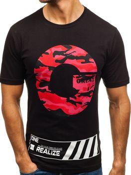 Černé pánské tričko s potiskem Bolf 6299