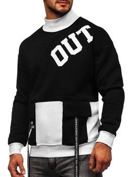 Černo-bílá pánská mikina bez kapuce s potiskem Bolf 0001