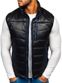 Černo-modrá pánská prošívaná vesta Bolf K002